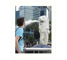 Merlion Singapore Fun Perception Water Fountain Art Print