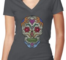 Adult Coloring - Skull Women's Fitted V-Neck T-Shirt