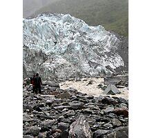 Walking to Fox Glacier wall in the rain Photographic Print