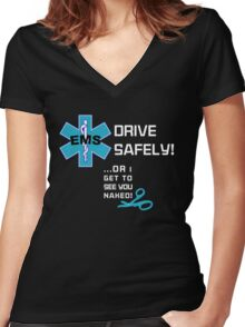 EMS Humor - Naked Women's Fitted V-Neck T-Shirt