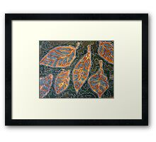 Leaves 02 Mixed Media - Ink on Acrylic Monoprint Framed Print