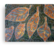 Leaves 02 Mixed Media - Ink on Acrylic Monoprint Canvas Print