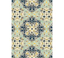 Protea Pattern in Deep Teal, Cream, Sage Green & Yellow Ochre Photographic Print