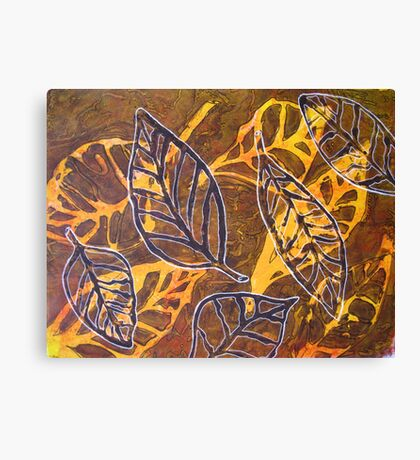 Leaves 03 Mixed Media - Ink on Acrylic Monoprint Canvas Print