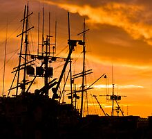 Masts in the Bay Sunset by Bob Moore