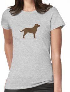 Chocolate Labrador Retriever Silhouette(s) Womens Fitted T-Shirt