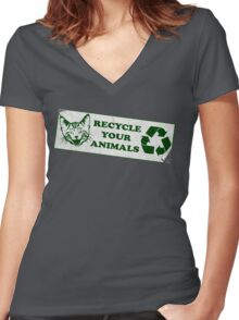 Please recycle your animals Women's Fitted V-Neck T-Shirt
