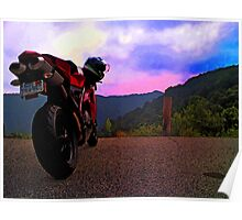 Ducati 848  riding in the Appalachians Poster