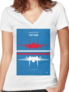 No128 My TOP GUN minimal movie poster Women's Fitted V-Neck T-Shirt