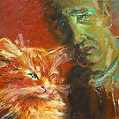 """Unknown With A Stoat Or """"Why Do The Artists Draw Cats?""""  / 2010 / oil on cardboard by Ivan KRUTOYAROV"""