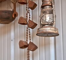 Lantern, Rusty Chain, Wrench, and Kettle by Renee D. Miranda
