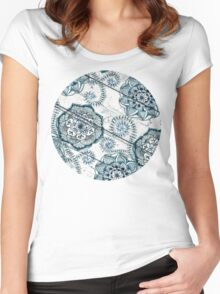 Shabby Chic Navy Blue doodles on Wood Women's Fitted Scoop T-Shirt
