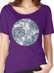 Shabby Chic Navy Blue doodles on Wood Women's Relaxed Fit T-Shirt