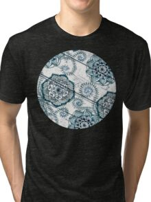 Shabby Chic Navy Blue doodles on Wood Tri-blend T-Shirt