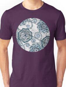 Shabby Chic Navy Blue doodles on Wood Unisex T-Shirt