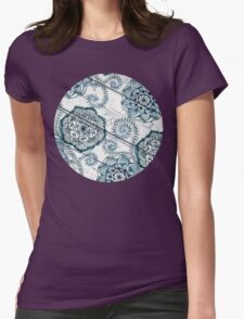Shabby Chic Navy Blue doodles on Wood Womens Fitted T-Shirt