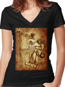 The Piano player Women's Fitted V-Neck T-Shirt