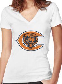 Chicago Bears logo 1 Women's Fitted V-Neck T-Shirt