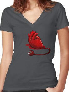 Unplug your heart Women's Fitted V-Neck T-Shirt