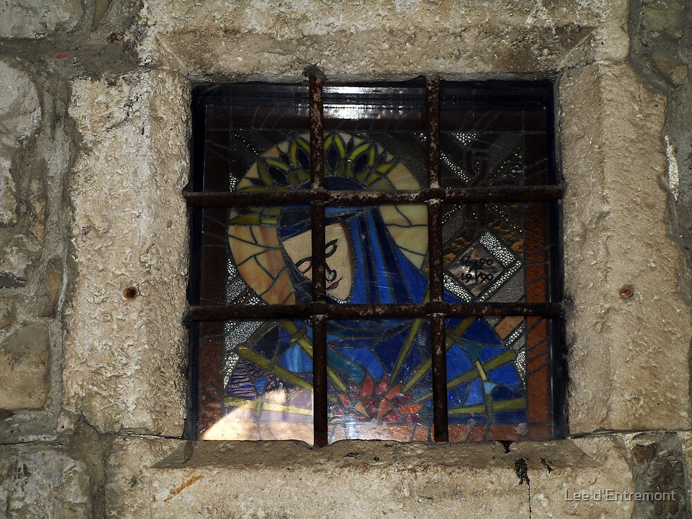 Stained glass Mary. by Lee d'Entremont