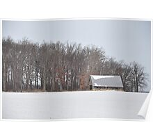 Wintry barn scene Poster