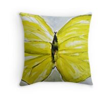 Yellow Buttercup Butterfly Throw Pillow