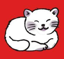 Fluffy white sleepy kitty cat One Piece - Short Sleeve