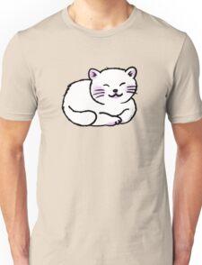 Fluffy white sleepy kitty cat Unisex T-Shirt