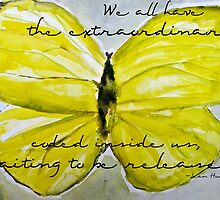 Yellow Buttercup Butterfly with Quote overlay by Natalie Cardon