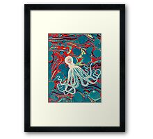 Marbled Paper Octopus Blob by Pepe Psyche Framed Print