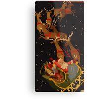 Santa and his reindeer Metal Print