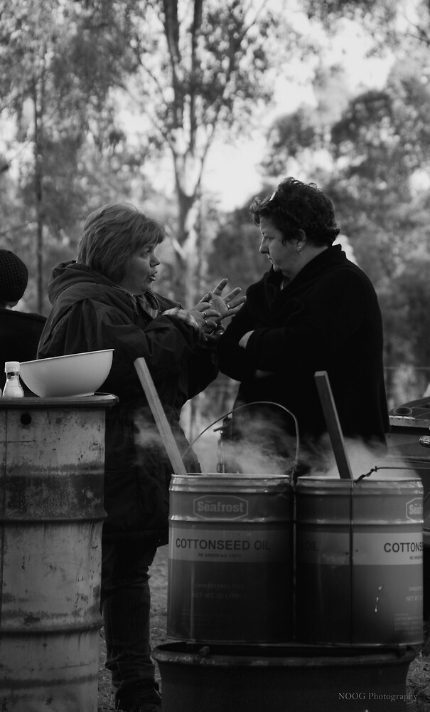 A conversation over some hot drums of soup - MarkyStock2011 - B&W by Jordan Miscamble