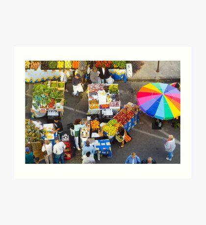 """Colorful Market"" - farmers' market Art Print"