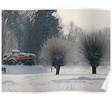 Orange Truck in white landscape Poster