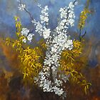 Cascade of flowers 60x50 cm by lizzyforrester