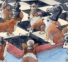 Corgi chess by SusanAlisonArt