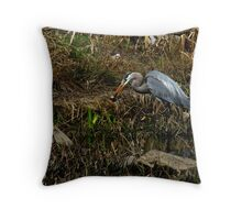 Can't I Eat in Peace!  (Great Blue Heron) Throw Pillow