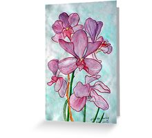 Orchid Flower in Watercolor Greeting Card