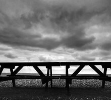 Bench on Beach in black and white. by brimo