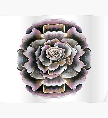 Sweet Pink Acrylic Rose Painting Poster