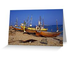 Fishing boats on Hastings beach East Sussex, UK Greeting Card