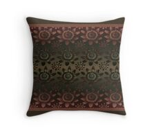 Passion flower brown design Throw Pillow