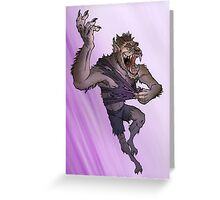 Werewolf Transformation With Background Greeting Card