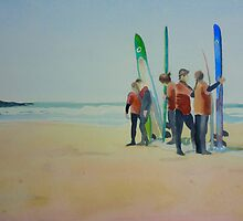 Tofino Surfers, watercolor on paper by Sandrine Pelissier