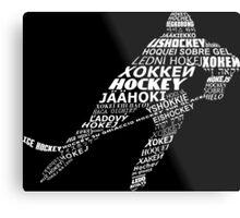 Typographic Hockey Languages   Metal Print
