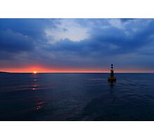 The Whitby Bell Buoy at Sunset Photographic Print