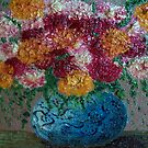 Blue flower pot by Dulcina