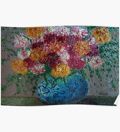 Blue flower pot Poster
