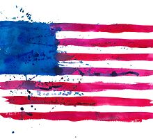 Watercolor Flag of the USA by Anastasiia Kucherenko