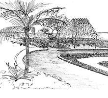Tiki Hut On The Beach by W. H. Dietrich